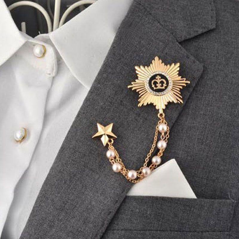 Wholesale 5 PCS/LOT Formal Suit Brooches Metal Collar Pin Men ...