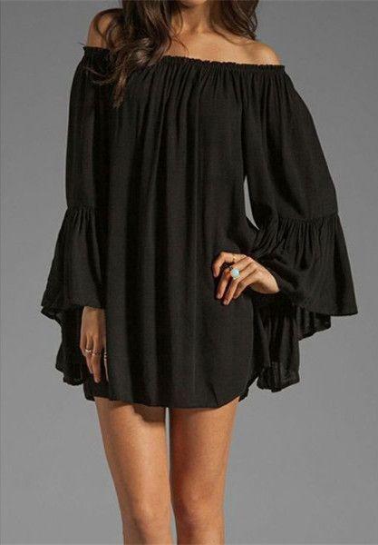 Off The Shoulder Flared Sleeve Dress