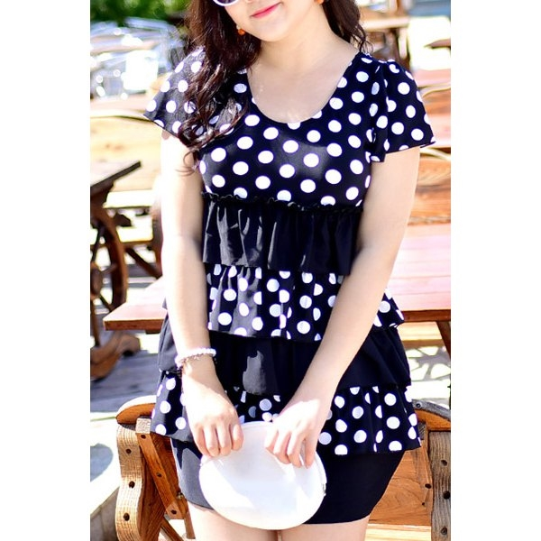 25.68$  Watch here - http://ditth.justgood.pw/go.php?t=176574512 - Sweet Polka Dot Printed Layered One-Piece Dress Swimwear For Women