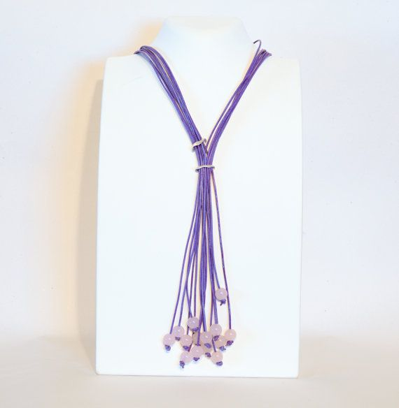 Pink quartz beads tied with purple leather cord long by Cardoucci