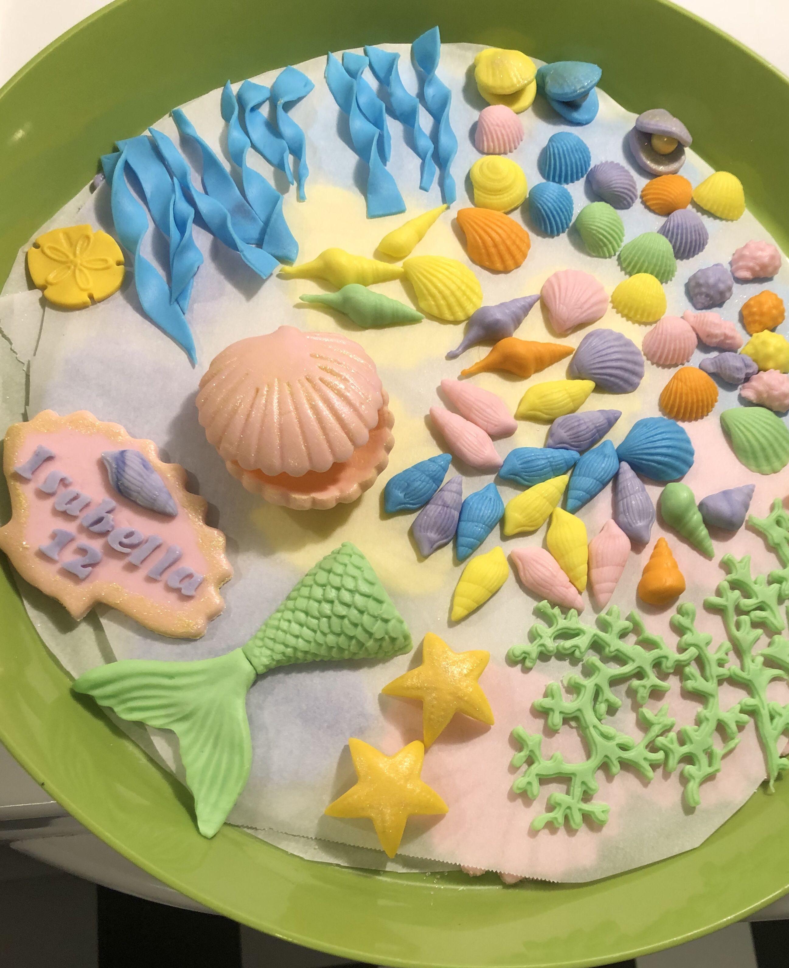 Fondant mermaid tail and shells mermaid cakes fondant