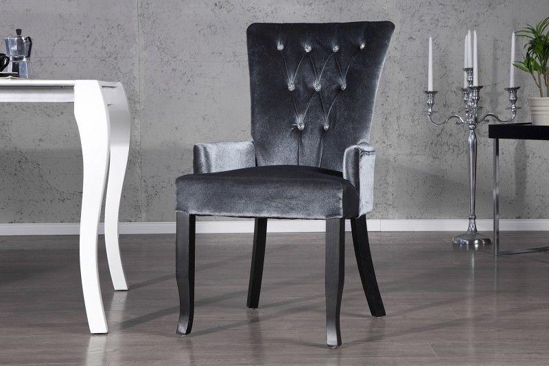 Stuhl Sessel DIMENSION Grau Strass Samt Look Barock Design Esszimmer NEU In  Möbel U0026 Wohnen,