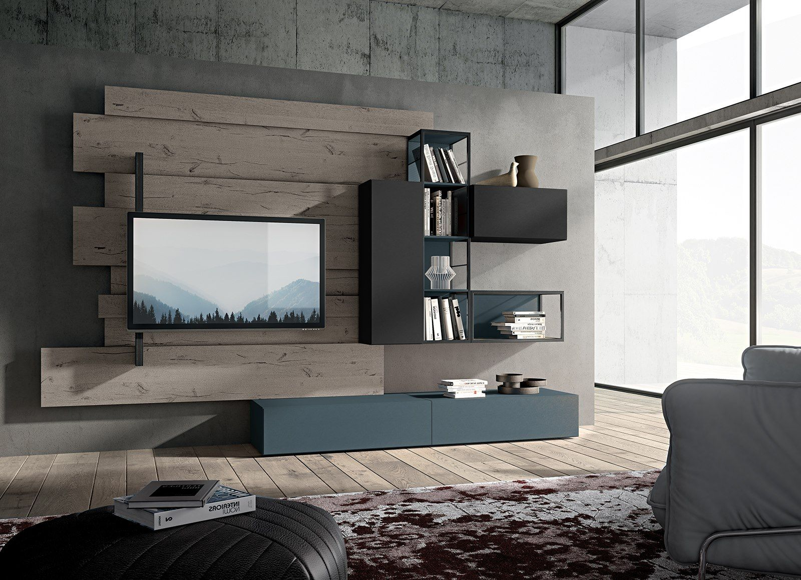 Sectional wall mounted TV wall system Jeannieu0027s