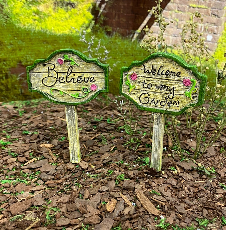 Fairy Garden Signs Believe Welcome To My Garden Signs Etsy In 2020 Fairy Garden Sign Winter Fairy Garden Christmas Fairy Garden