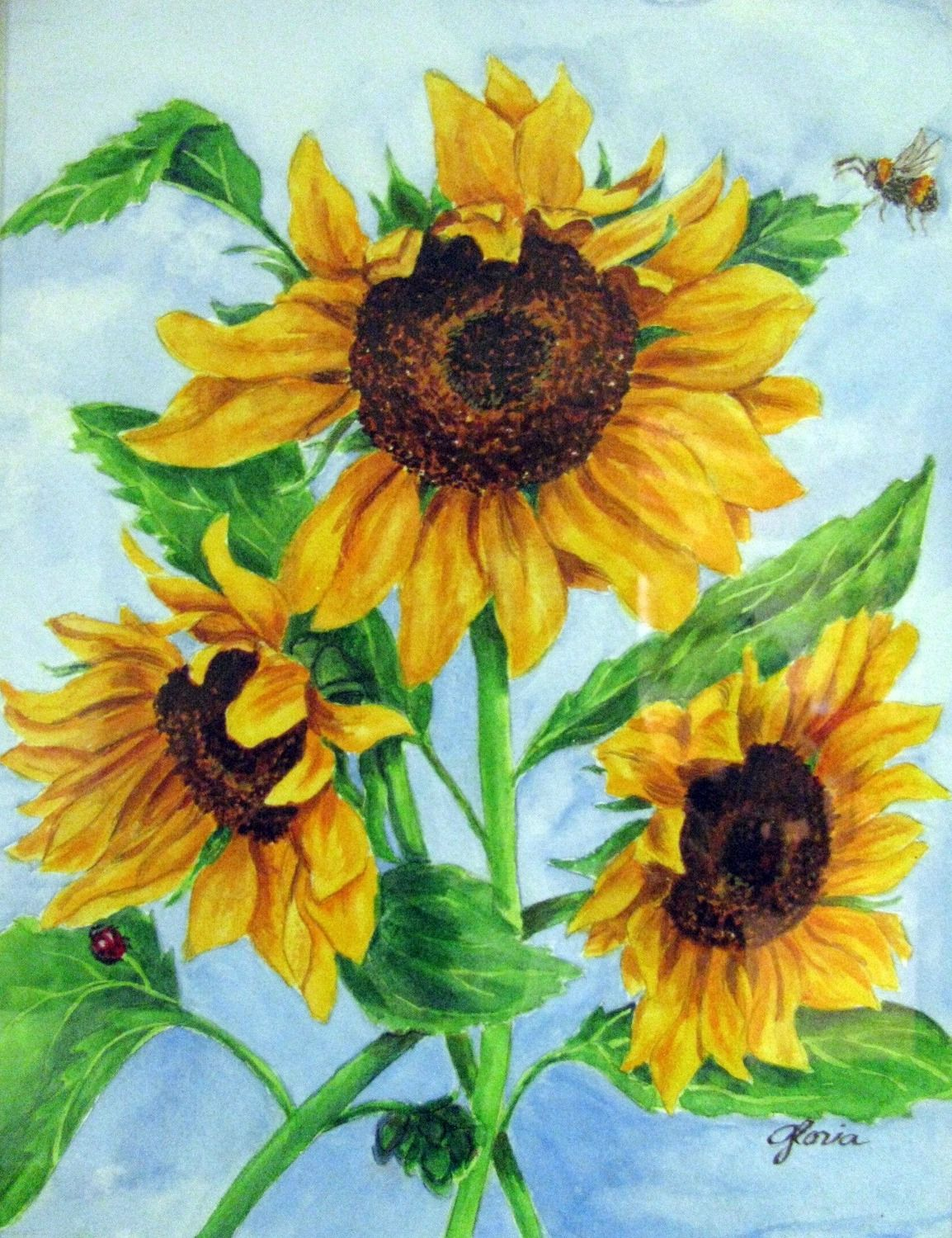 watercolor paintings sunflower | Watercolor Paintings Of ...