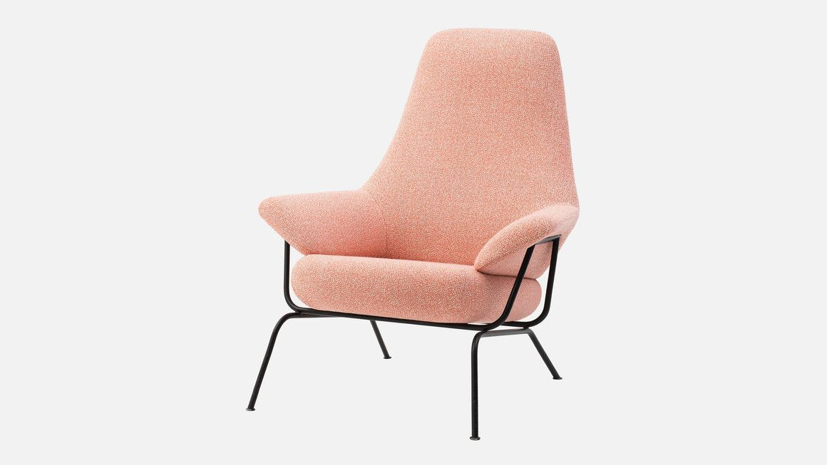 Hai chair with pink upholstery, designed by Luca Nichetto for Hem ...