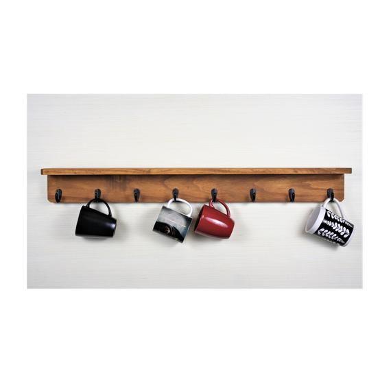 6 hook mug holder, Coffee Bar, coffee mug rack, wall shelf, kitchen cup holder, 4 hook mug holder, key rack, spice rack, leash hook,