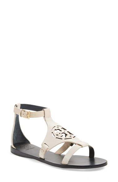 Zoey Leather Logo Flat Sandal