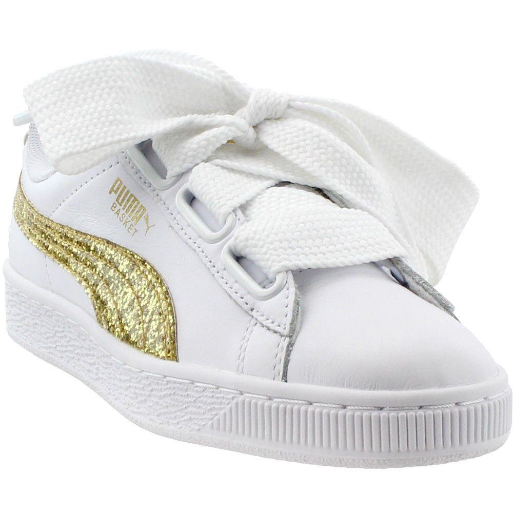 new arrivals 5fc14 e1653 Puma Basket Heart Glitter Sneakers - White - Womens #Puma ...