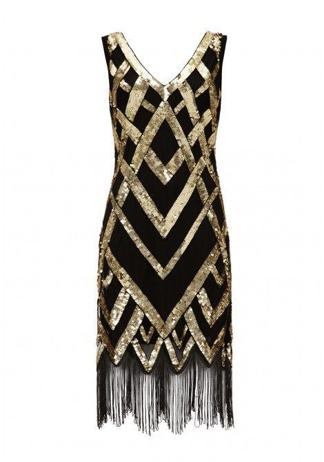 Gatsbylady Glitz Black Gold Fringe Flapper Dress  11e44d4d8da62
