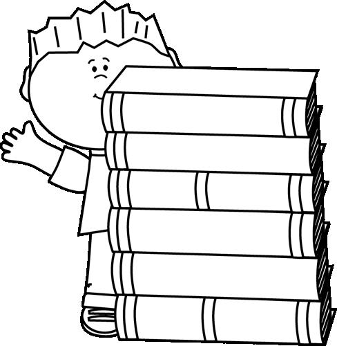 Black And White Boy Waving Behind Books Clip Art Black And White Boy Waving Behind Books Image Book Clip Art Student Data Binders Clip Art