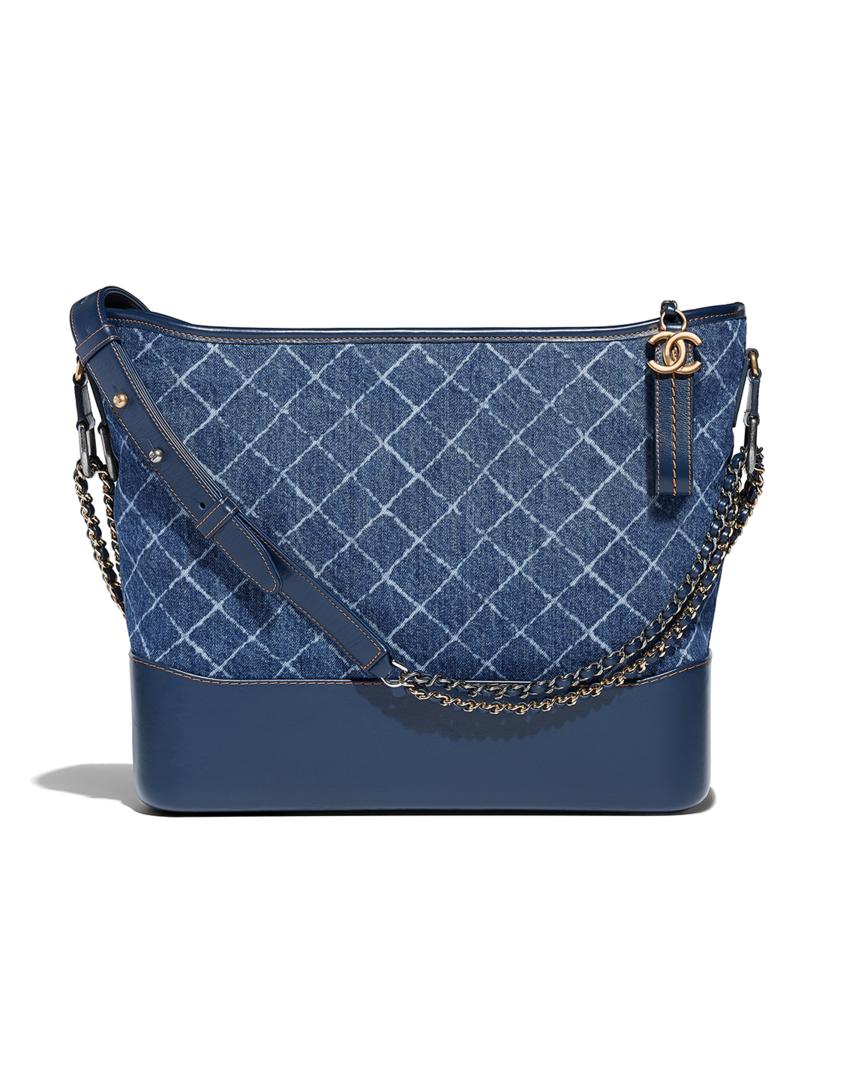 dfacb1cfb11e10 CHANEL's GABRIELLE large hobo bag, denim, calfskin, silver-tone & gold-tone  metal-blue - CHANEL