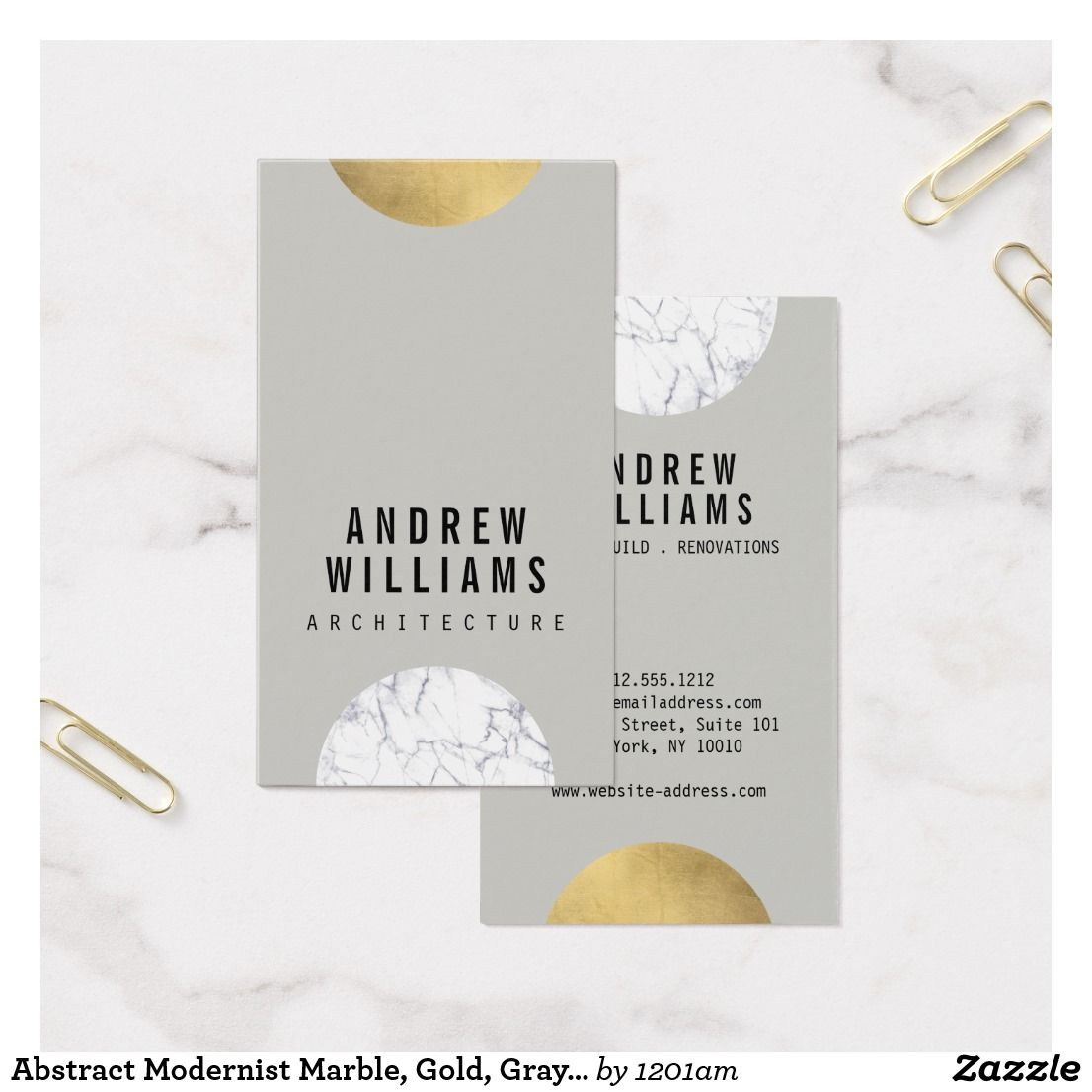 Abstract Modernist Marble, Gold, Gray Business Card for Interior ...
