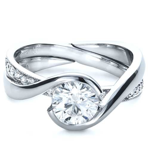 Custom Interlocking Diamond Engagement Ring Engagements Ring and