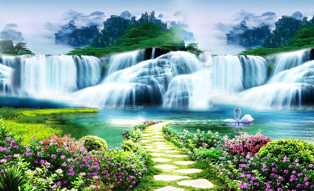 Beautiful Waterfall Pathway 3d Wall Sticker Wallart Wall Painting In 2020 Scenic Wallpaper Waterfall Landscape Scenery Background