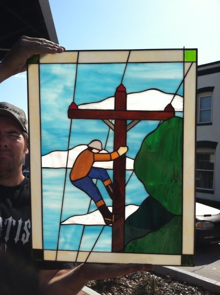 Lineman Stained Glass Go To Www Amazingstainedglass Com Stained Glass Stained Glass Art Stained Glass Panels