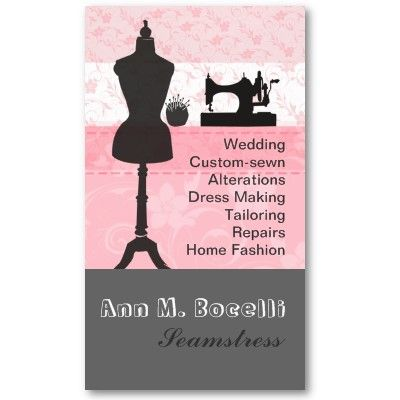 Vintage fashion crafts girly pink floral sewing business for Cool fashion business cards