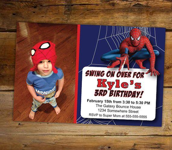 Childs Spiderman Birthday Invitations Custom By LittleMissSadie 900