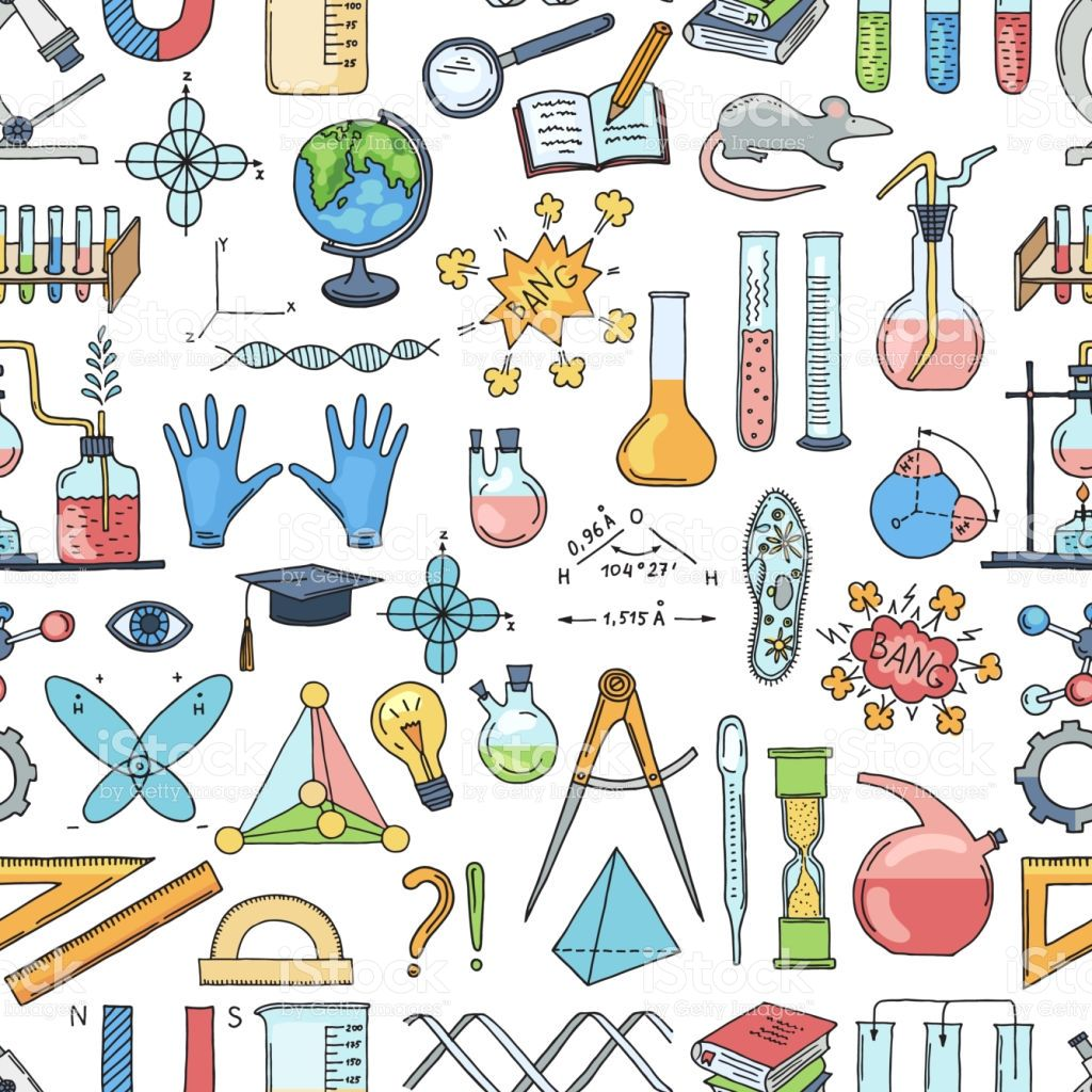 Vector Colored Sketched Science Or Chemistry Elements Pattern Or Vector Sketch Free Vector Art Background Patterns
