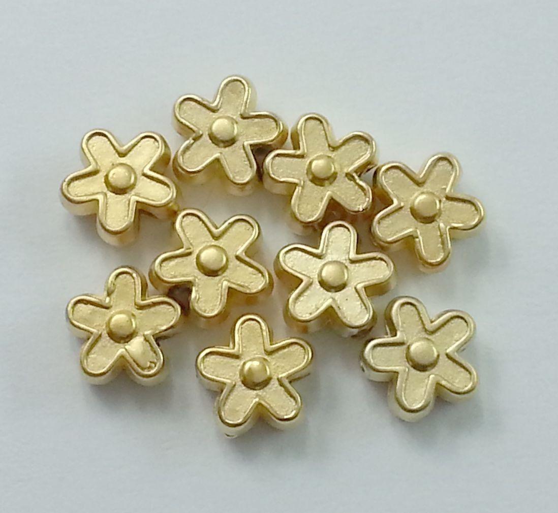 Abalorio flor en oro turco