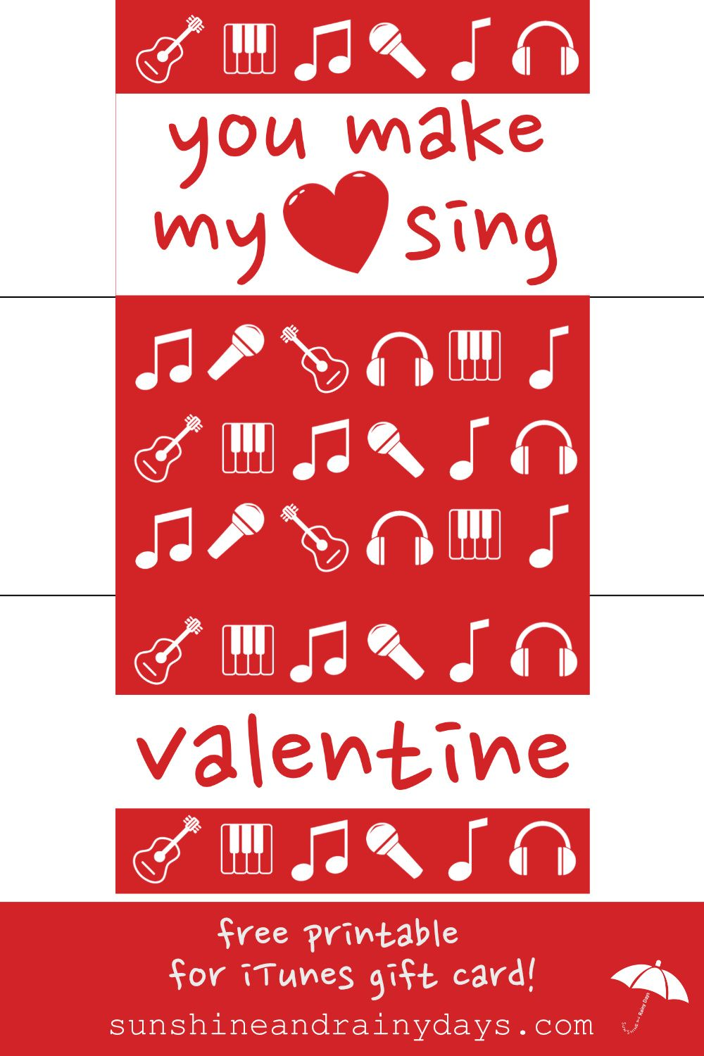 Printable valentine itunes gift card holder itunes gift cards and giving the gift of music in the form of an itunes gift card make it yelopaper Choice Image