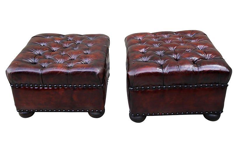 Excelente Cuero Redondo Tufted Muebles Otomana Imágenes - Muebles ...
