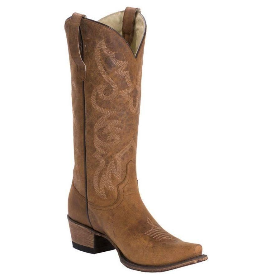 Hot Paprika Women's Leather Cowboy Boot Honey