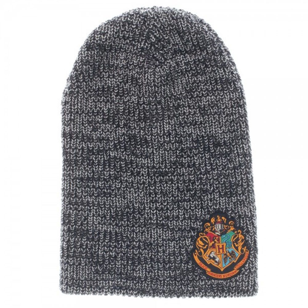 36408400e34 Harry Potter Hogwarts House Patch Design Gray Slouch Beanie Knit Hat NWT   BW  SlouchBeanie