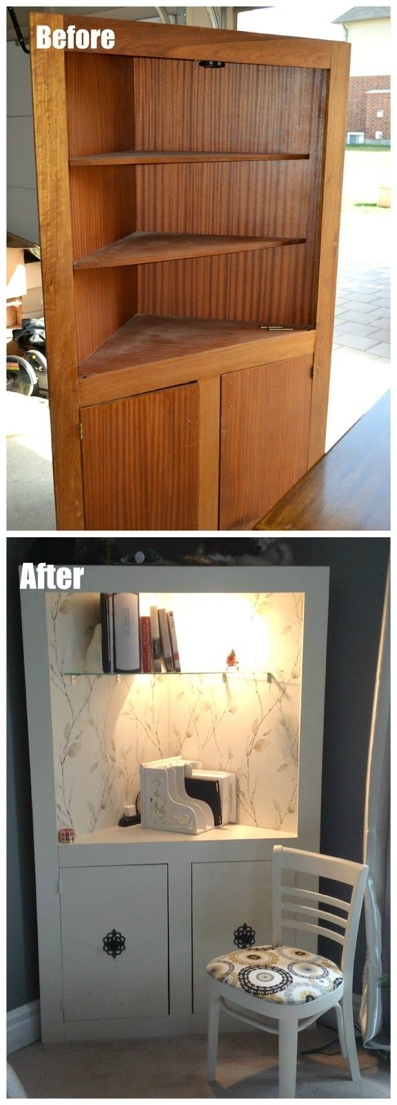 Diy Refinished And Painted Cabinet Reviews: Corner Desk/Charging Station