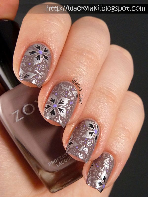 Wacky laki guest post on gionails nailart pinterest nail taupe polish with beautiful metallic floral stamping nail art prinsesfo Image collections