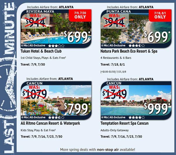 Last Minute Deals From Atlanta Travel Deals From Atlanta - Last minute travel deals from atlanta