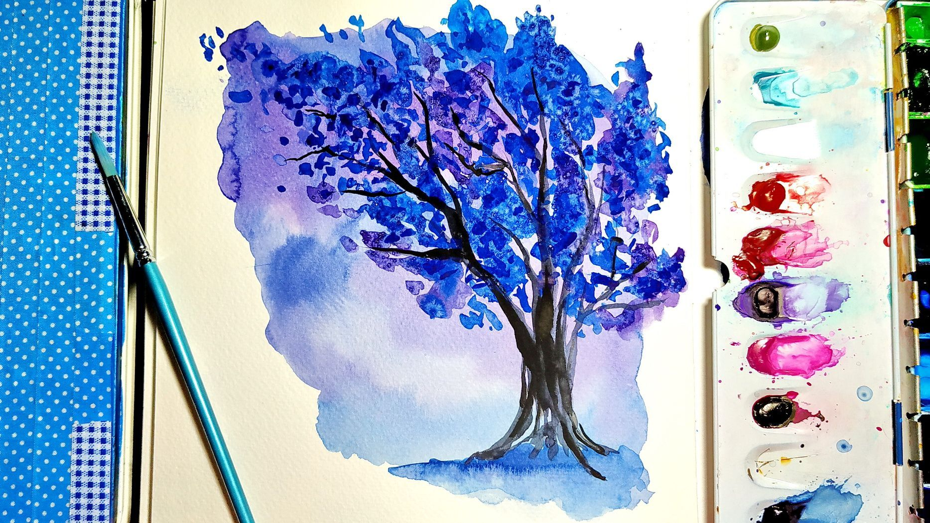 Abstract Watercolor Tree Painting Easy Art Ideas For Beginners