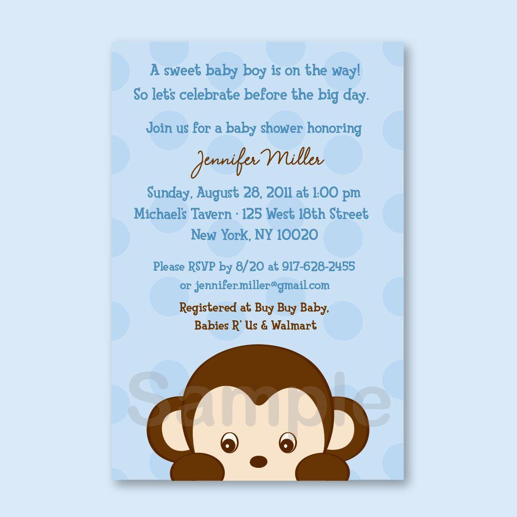 Cute Monkey Baby Shower Invitation / Monkey Baby Shower Invite ...