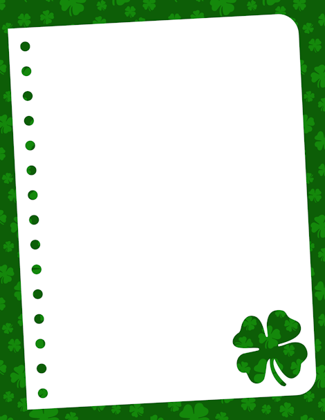 A shamrock themed border this is great for st patrick 39 s for Irish menu templates