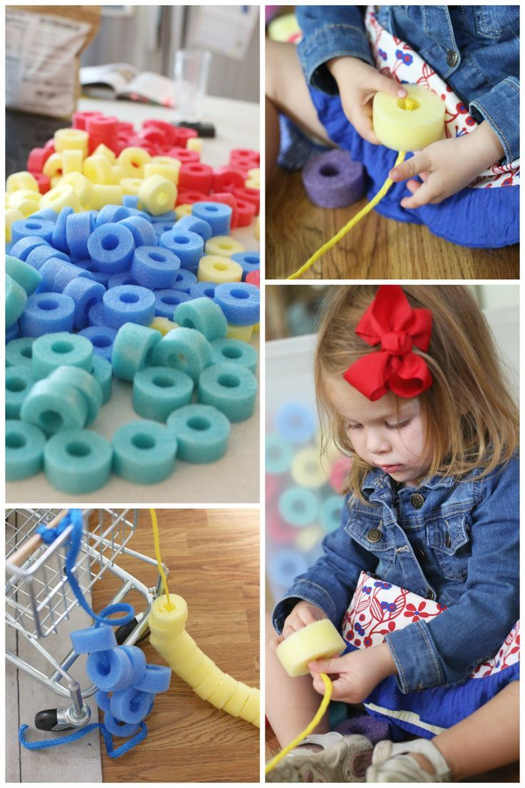 Activities for colors for toddlers - Sorting And Threading Foam Beads Activity For Toddlers