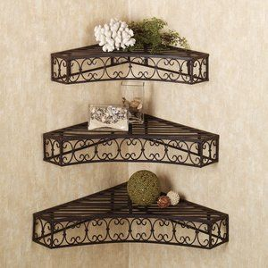 Decorative Metal Wall Shelves amazon: tuscan wrought iron metal corner wall shelves set of 3