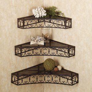 Amazon Com Tuscan Wrought Iron Metal Corner Wall Shelves Set Of 3