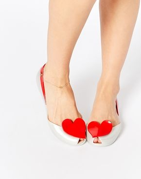 b46c43dceab5b1 Vivienne Westwood For Melissa Queen Pearl Red Heart Flat Shoes ...