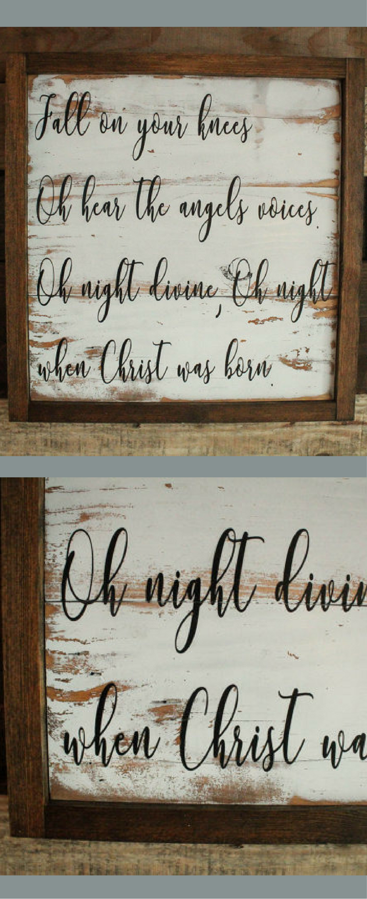 Fall on Your Knees Distressed Reclaimed Wood Sign, Oh Holy Night Lyrics Sign, O Holy Night ...