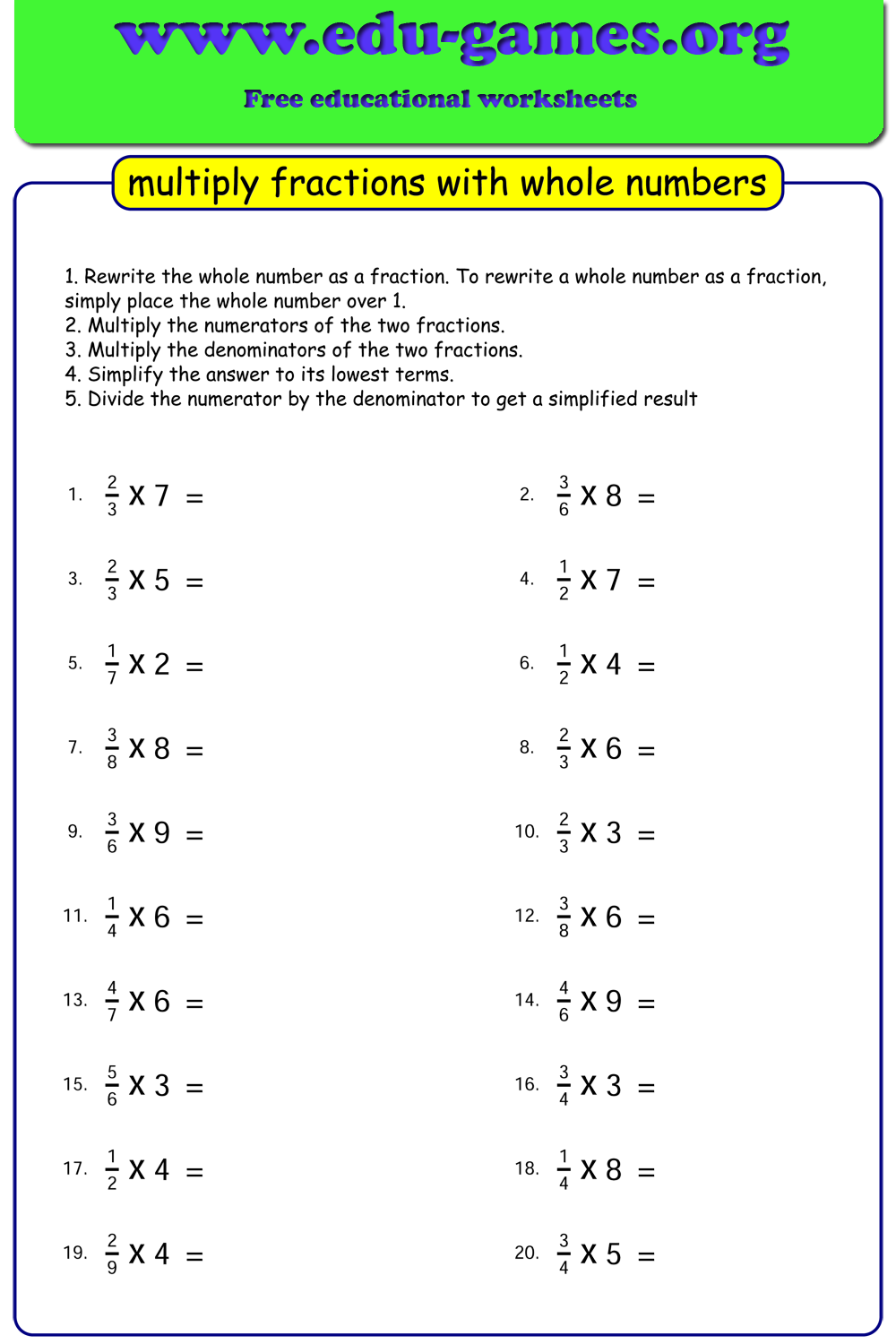 Free Multiplying Fraction With Whole Numbers Worksheets Unlimited Free Worksheets Multiplying Fractions Fractions Math Fraction Games