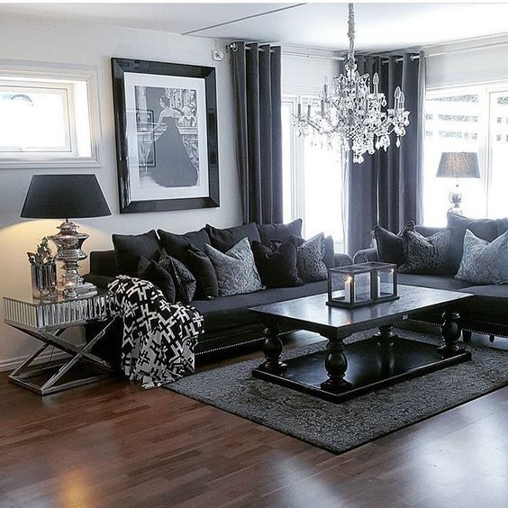 Living Room Ideas Black Furniture Narrow Chairs For Pin By Vedali On Home Projects Designs Contemporary Decor Dark Grey Sofa