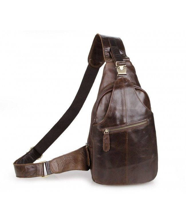 17dd599015 Men s Cow Leather Sling Crossbody Shoulder Casual Camping Hiking Messenger  Backpack Chest Bag - Brown - CM12ODQVGXV  Bags  handbags  gifts  Style   Messenger ...