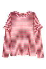 3333d4cd253 Jersey top with flounces - Red White striped - Ladies