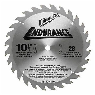 Milwaukee 10 1 4 Endurance Circular Saw Blade 28 Tooth 48 40 4170 New Circular Saw Blades Saw Blade Circular Saw