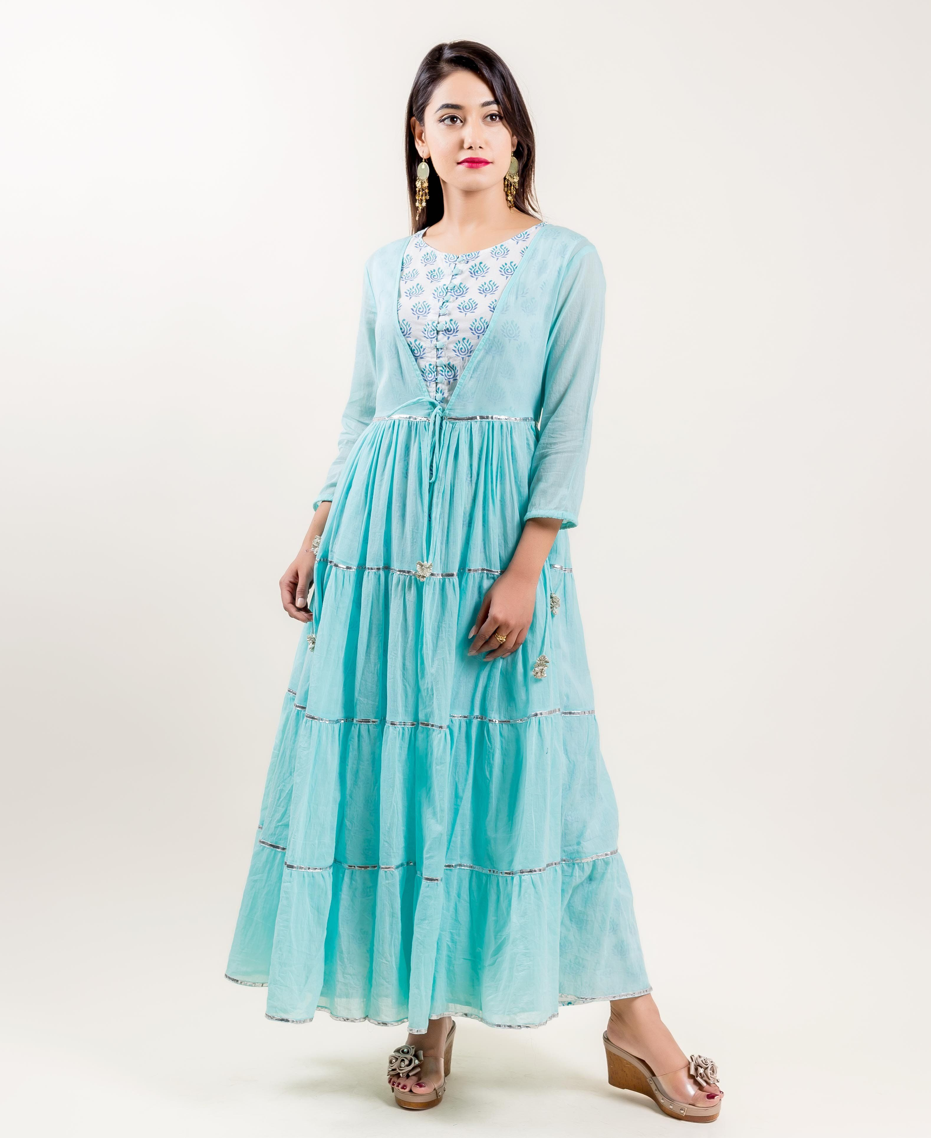 4f7cb42dce1a Aqua Cotton Tiered Indo Western Dress with Sleeveless inner in 2019 ...