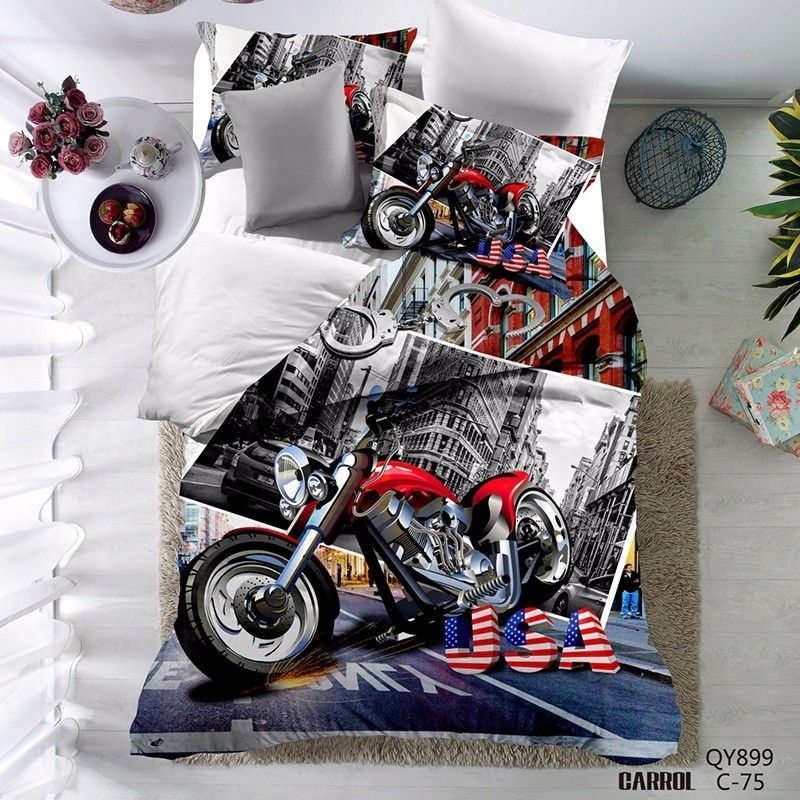 3D High Quality Motorcycle Duvet Cover Set Polyester
