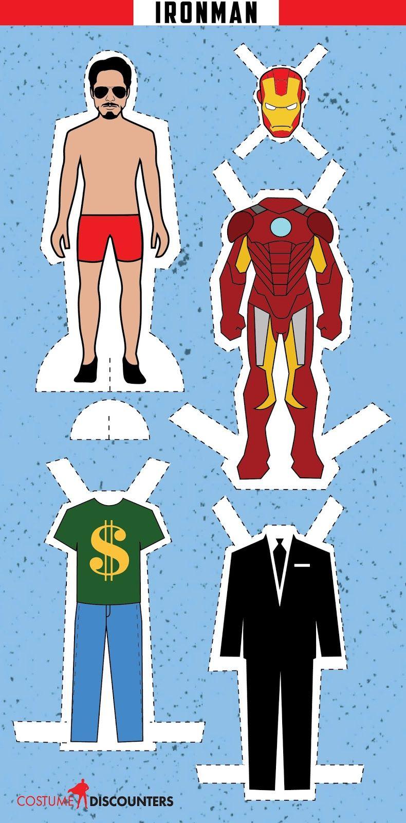Ironman: Muñeco de Papel para Vestir, para Imprimir Gratis ...
