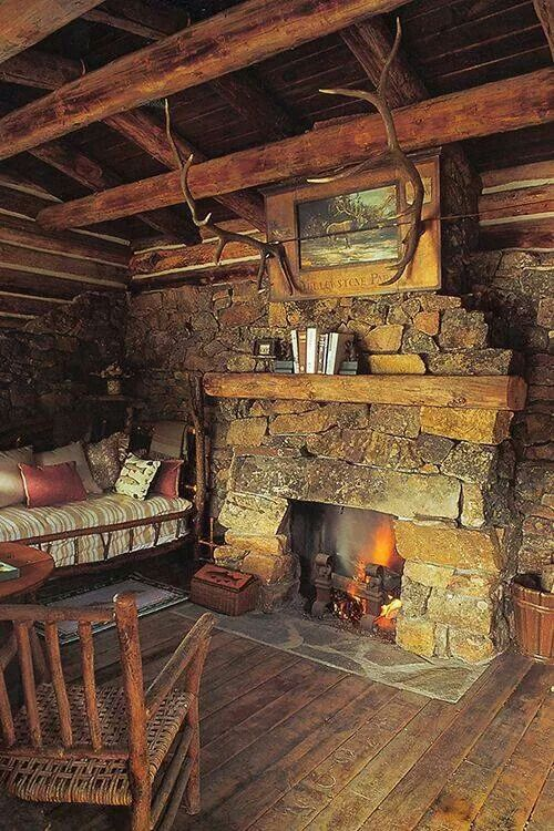 Cabin and stone fireplace  Cabins Pinterest Log