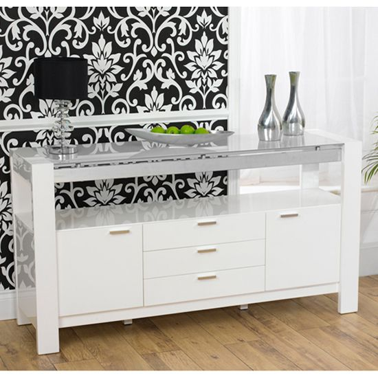 Charming Lexus High Gloss White Glass Sideboard