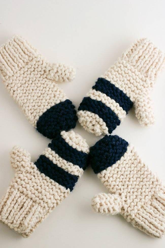 DIY Garter Stitch Chunky Mittens | Whimseybox | Knitting | Pinterest ...